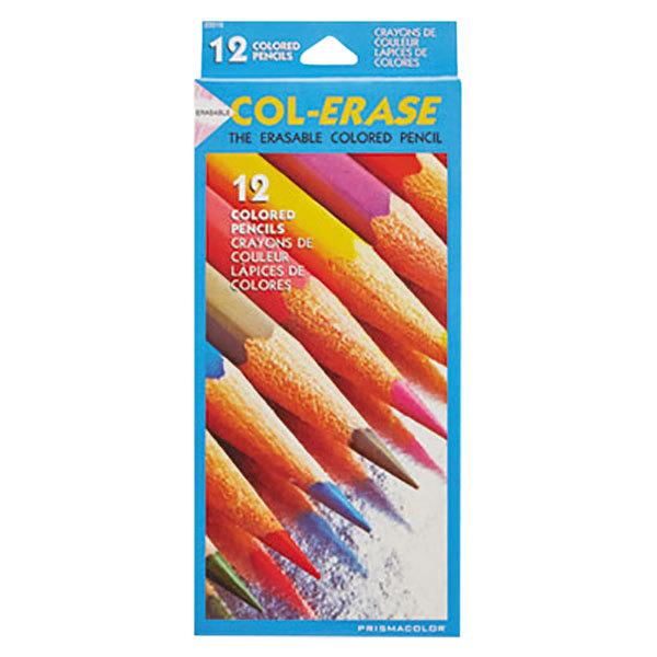 Prismacolor 20516 Col-Erase 12-Color Assorted Woodcase Barrel 0.7mm Soft Lead Colored Pencil Set with Eraser - 12/Set
