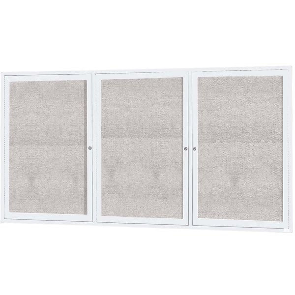 """Aarco ODCC4896-3RW 48"""" x 96"""" Enclosed Hinged Locking 3 Door Powder Coated White Outdoor Bulletin Board Cabinet"""