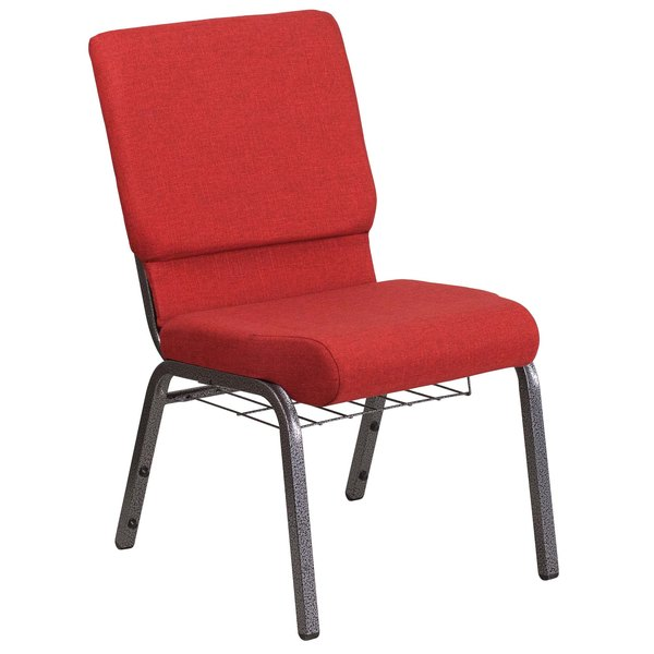 "Flash Furniture FD-CH02185-SV-RED-BAS-GG Hercules Series Red 18 1/2"" Church Chair with Book Rack and Silver Vein Frame"