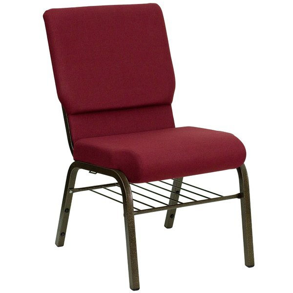 "Flash Furniture XU-CH-60096-BY-BAS-GG Hercules Series Burgundy 18 1/2"" Church Chair with Book Rack and Gold Vein Frame Main Image 1"