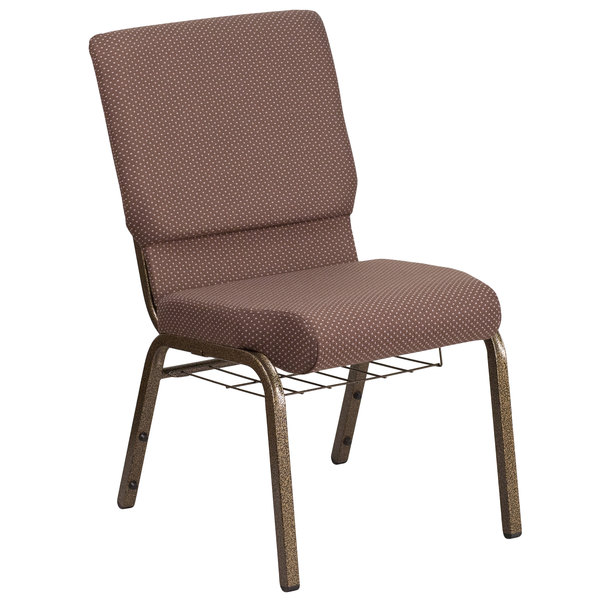 "Flash Furniture FD-CH02185-GV-BNDOT-BAS-GG Hercules Series Brown Dot 18 1/2"" Church Chair with Book Rack and Gold Vein Frame"