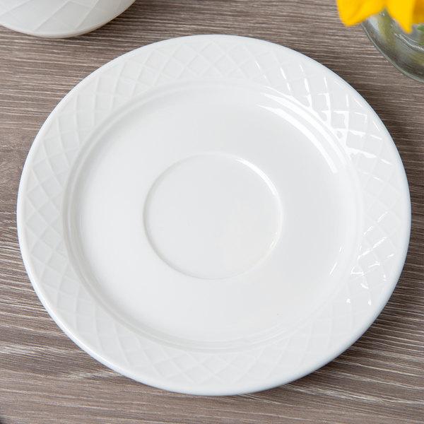 """Villeroy & Boch 16-2238-1280 Bella 5 7/8"""" White Porcelain Saucer - 6/Case"""