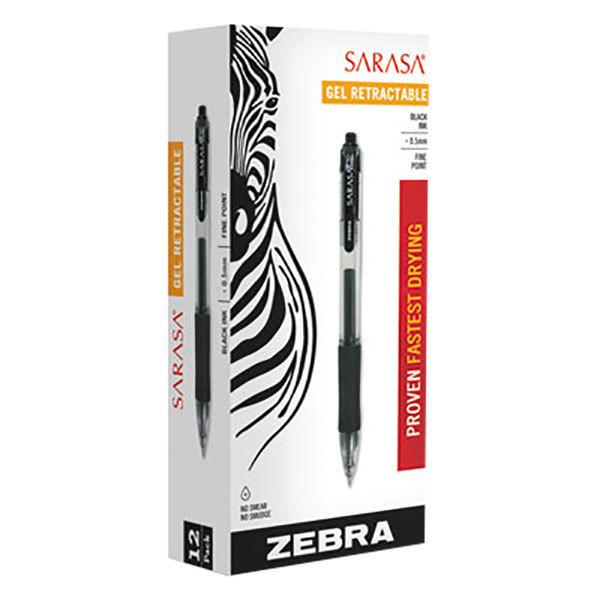 Zebra 46710 Sarasa Black Ink with Transparent Black Barrel 0.5mm Retractable Roller Ball Gel Pen - 12/Pack