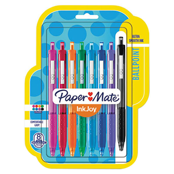 Paper Mate 1945921 InkJoy 300 RT Assorted Ink with Assorted Barrel Color 1mm Retractable Ballpoint Pen - 8/Pack