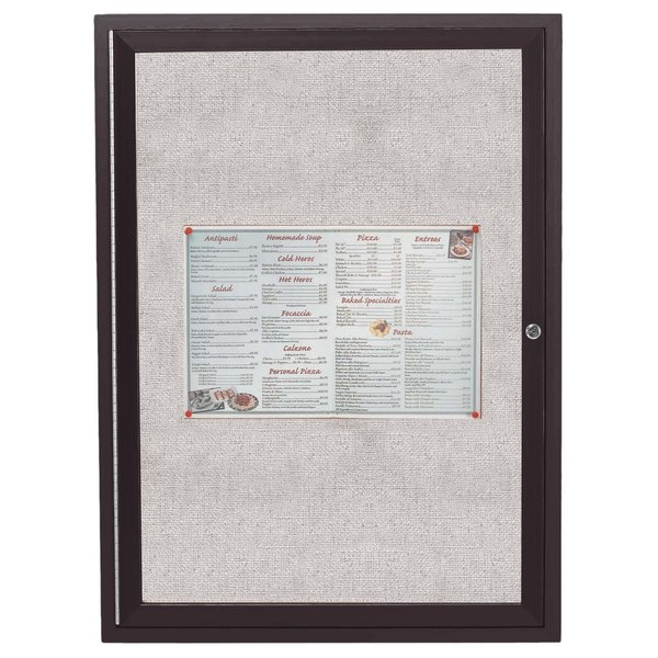 """Aarco ODCC3630RBA 36"""" x 30"""" Enclosed Hinged Locking 1 Door Bronze Anodized Outdoor Bulletin Board Cabinet"""