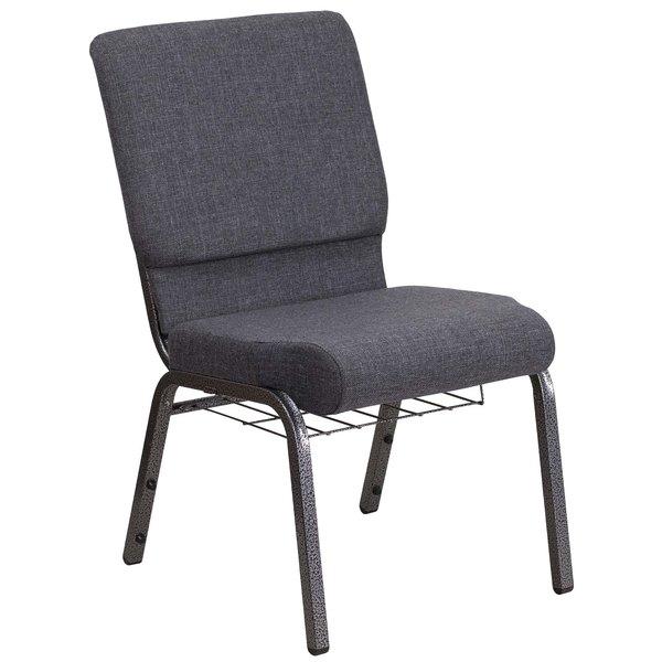 "Flash Furniture FD-CH02185-SV-DKGY-BAS-GG Hercules Series Dark Gray 18 1/2"" Church Chair with Book Rack and Silver Vein Frame"
