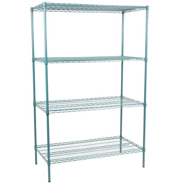 Wire Shelving Posts | Regency 24 X 48 Nsf Green Epoxy Shelf Kit With 74 Posts