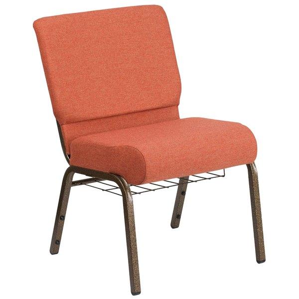 """Flash Furniture FD-CH0221-4-GV-CIN-BAS-GG Hercules Series Cinnamon 21"""" Church Chair with Book Rack and Gold Vein Frame"""