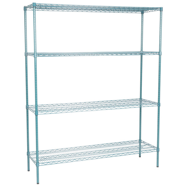 green wire shelving unit with four shelves