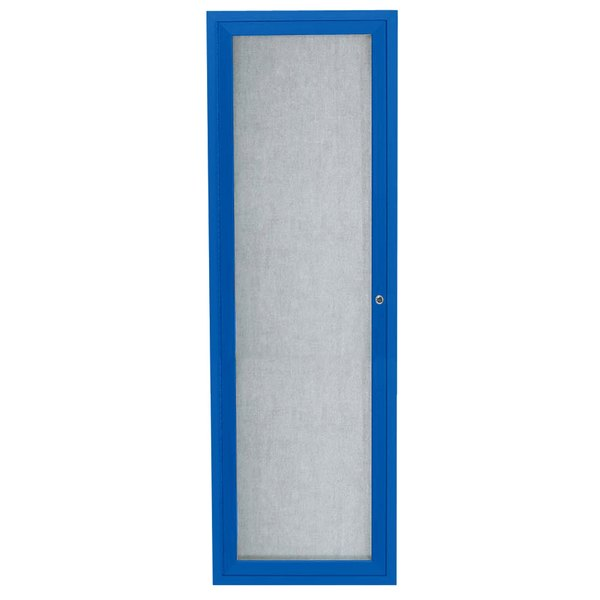 """Aarco ODCC3612RB 36"""" x 12"""" Enclosed Hinged Locking 1 Door Powder Coated Blue Outdoor Bulletin Board Cabinet"""