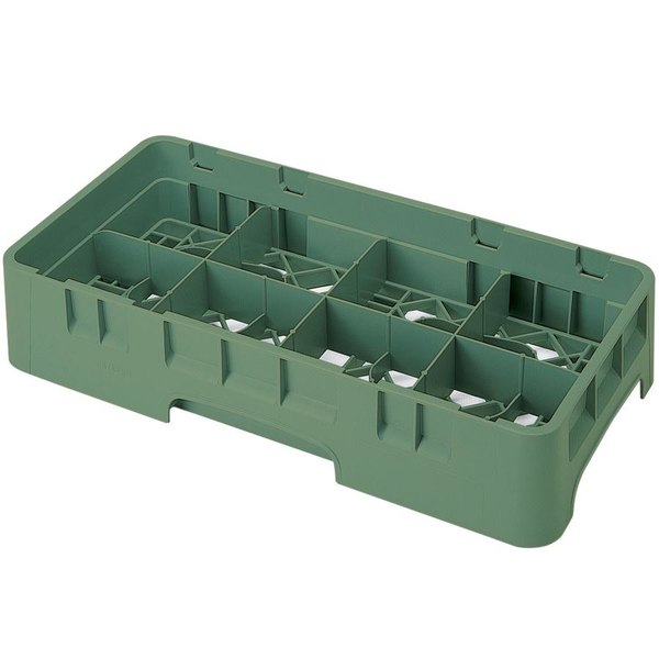 "Cambro 8HS318119 Sherwood Green Camrack Customizable 8 Compartment 3 5/8"" Half Size Glass Rack"