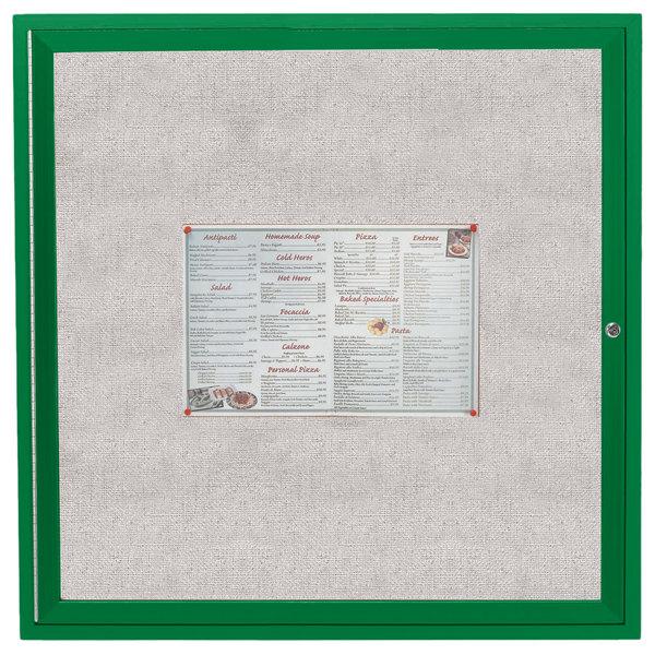 "Aarco ODCC3636RG 36"" x 36"" Enclosed Hinged Locking 1 Door Powder Coated Green Outdoor Bulletin Board Cabinet"