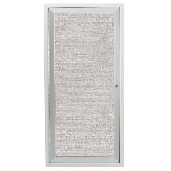 """Aarco ODCC2412R 24"""" x 12"""" Enclosed Hinged Locking 1 Door Satin Anodized Aluminum Finish Outdoor Bulletin Board Cabinet"""