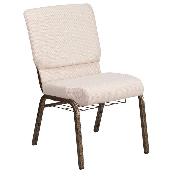 "Flash Furniture FD-CH02185-GV-B2-BAS-GG Hercules Series Beige 18 1/2"" Church Chair with Book Rack and Gold Vein Frame"
