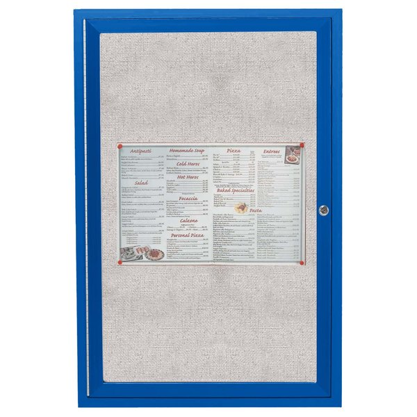 """Aarco ODCC2418RB 24"""" x 18"""" Enclosed Hinged Locking 1 Door Powder Coated Blue Outdoor Bulletin Board Cabinet"""