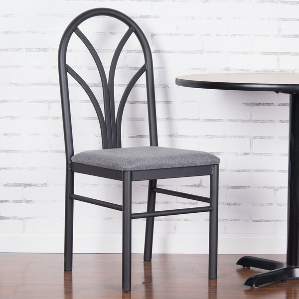 """Lancaster Table & Seating Gray 4 Spoke Restaurant Dining Room Chair with 1 3/4"""" Padded Seat"""