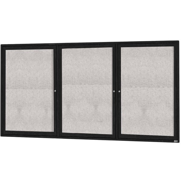 "Aarco ODCC4896-3RBK 48"" x 96"" Enclosed Hinged Locking 3 Door Powder Coated Black Outdoor Bulletin Board Cabinet"
