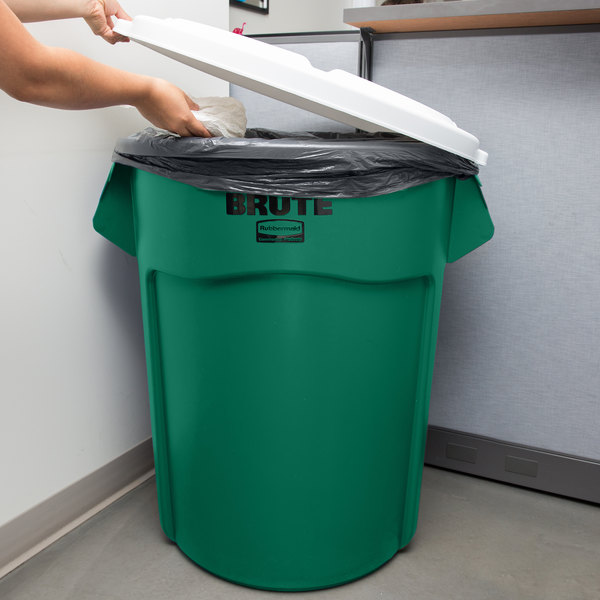 Rubbermaid BRUTE 55 Gallon Green Recycle / Trash Can and White Lid