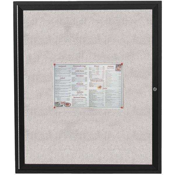 "Aarco ODCC4836RBK 48"" x 36"" Enclosed Hinged Locking 1 Door Powder Coated Black Outdoor Bulletin Board Cabinet"