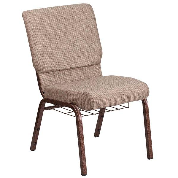 "Flash Furniture FD-CH02185-CV-BGE1-GG Hercules Series Beige 18 1/2"" Church Chair with Book Rack and Copper Vein Frame Main Image 1"
