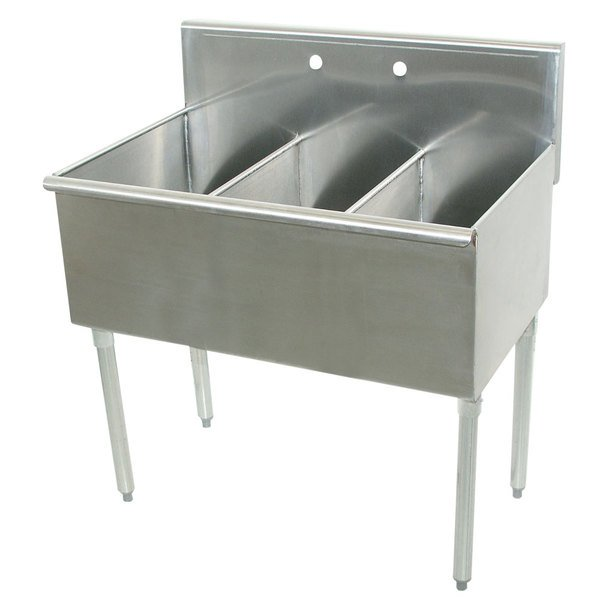 "Advance Tabco 4-3-36 Three Compartment Stainless Steel Commercial Sink - 36"" Main Image 1"