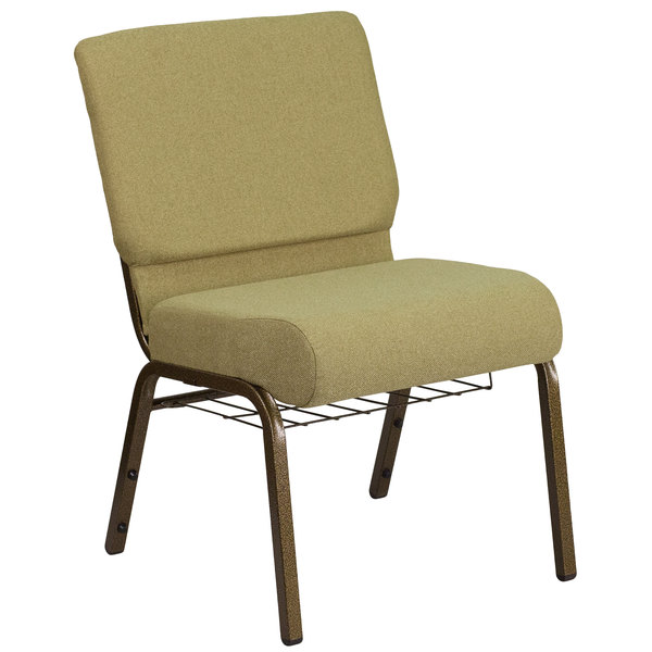 "Flash Furniture FD-CH0221-4-GV-GN-BAS-GG Hercules Series Moss 21"" Church Chair with Book Rack and Gold Vein Frame"