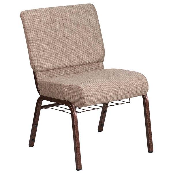 """Flash Furniture FD-CH0221-4-CV-BGE1-BAS-GG Hercules Series Beige 21"""" Church Chair with Book Rack and Copper Vein Frame"""
