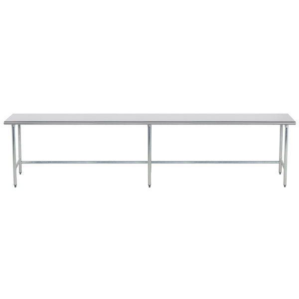 """Advance Tabco TGLG-2412 24"""" x 144"""" 14 Gauge Open Base Stainless Steel Commercial Work Table"""