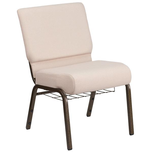 "Flash Furniture FD-CH0221-4-GV-B2-BAS-GG Hercules Series Beige 21"" Church Chair with Book Rack and Gold Vein Frame"
