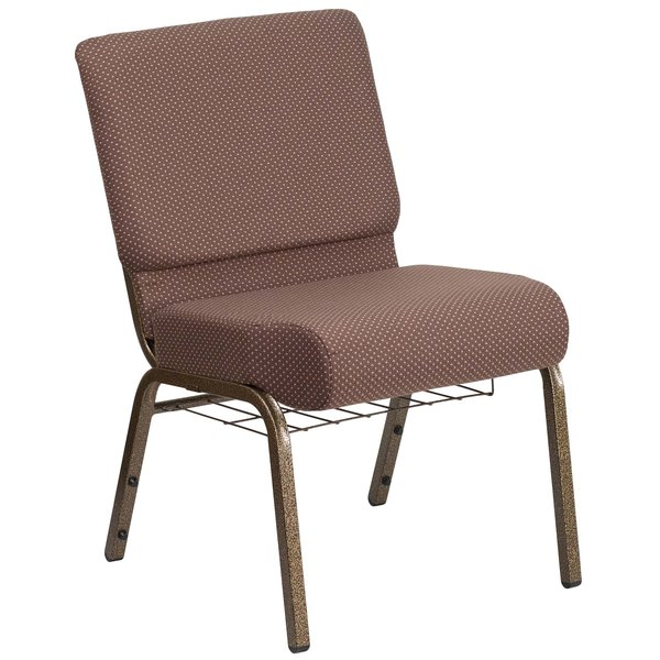 "Flash Furniture FD-CH0221-4-GV-BNDOT-BAS-GG Hercules Series Brown Dot 21"" Church Chair with Book Rack and Gold Vein Frame Main Image 1"