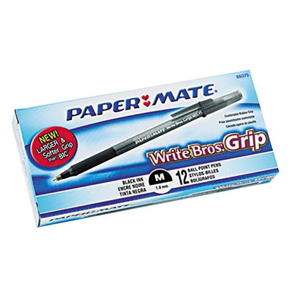 Paper Mate 8807987 Write Bros Grip Black Ink with Translucent Barrel 1mm Ballpoint Stick Pen - 12/Pack