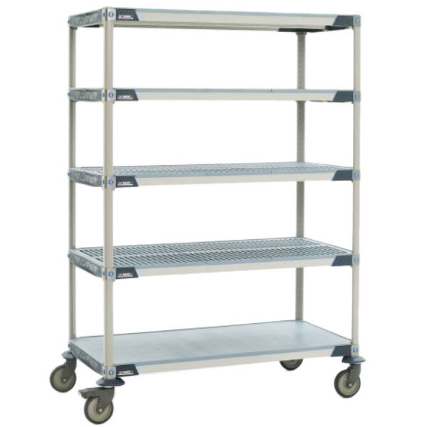 "Metro 5X367PG4 MetroMax 4 5-Shelf Polymer Cart with Solid Bottom Shelf - 18"" x 60"" Main Image 1"