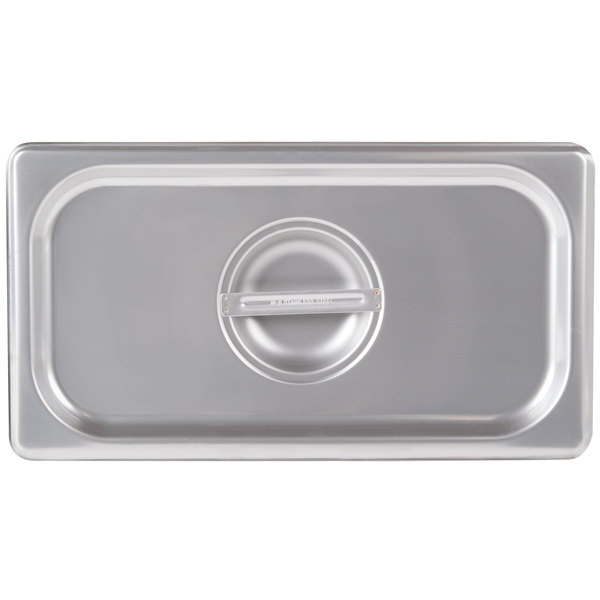 Choice 1/3 Size Stainless Steel Solid Steam Table / Hotel Pan Cover