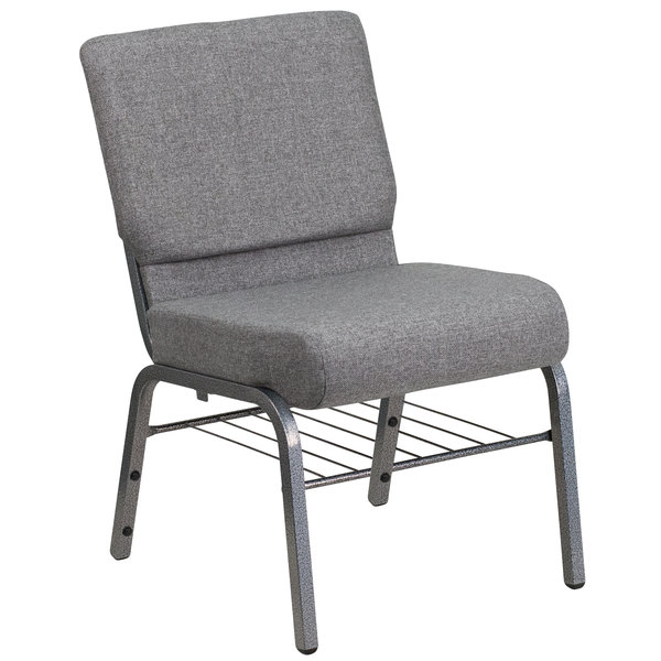 """Flash Furniture XU-CH0221-GY-SV-BAS-GG Hercules Series Gray 21"""" Church Chair with Book Rack and Silver Vein Frame"""