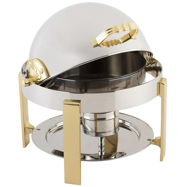 Bon Chef 20014G Petite 3 Qt. Dripless Round Stainless Steel With Gold  Accents Roll Top Chafer ...