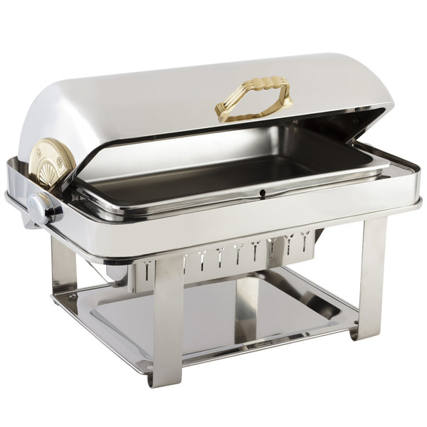Bon Chef 12004 Elite Rectangle 8 Qt. Dripless Stainless Steel with Brass Accents Roll Top Chafer