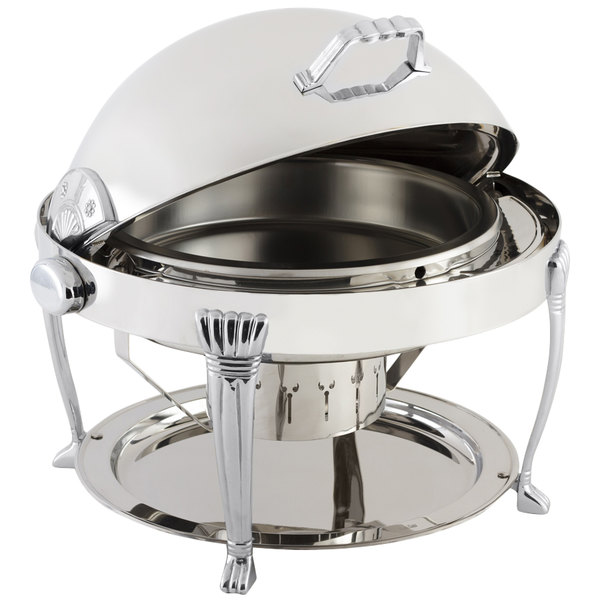 Bon Chef 12009CH Elite Round 8 Qt. Dripless Round Stainless Steel with Chrome Accents Roll Top Chafer with Aurora Legs