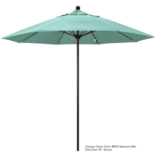 "California Umbrella ALTO 908 SUNBRELLA 1A Venture 9' Round Push Lift Umbrella with 1 1/2"" Aluminum Pole - Sunbrella 1A Canopy"