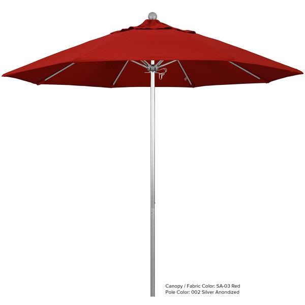 "California Umbrella ALTO 908 PACIFICA Venture 9' Round Push Lift Umbrella with 1 1/2"" Aluminum Pole - Pacifica Canopy"