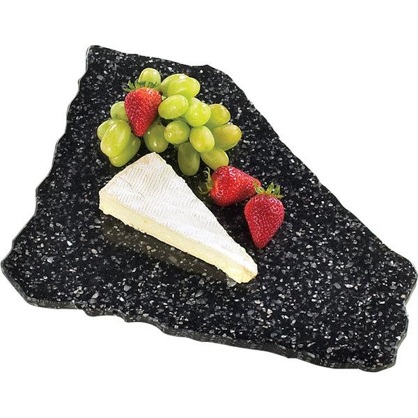"Cal-Mil 127-31 Black Ice 15"" x 12"" Simulated X-Stone Acrylic Tray"