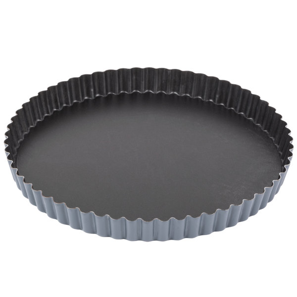 Matfer Bourgeat 332225 Exopan 9 1/2 inch Fluted Non-Stick Tart / Quiche Pan with Removable Bottom