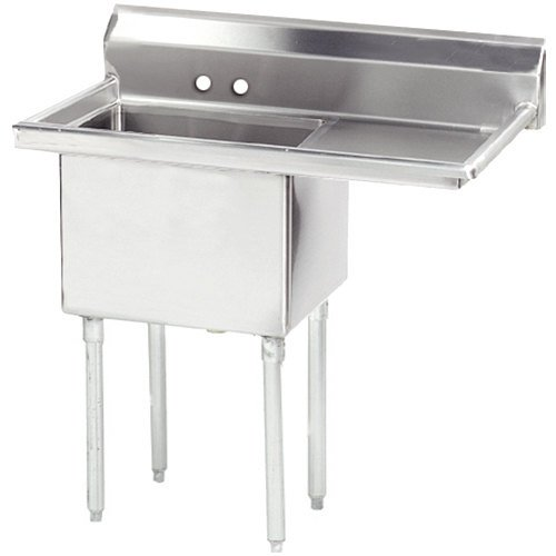 Right Drainboard Advance Tabco FE-1-1812-18 One Compartment Stainless Steel Commercial Sink with One Drainboard - 38 1/2""