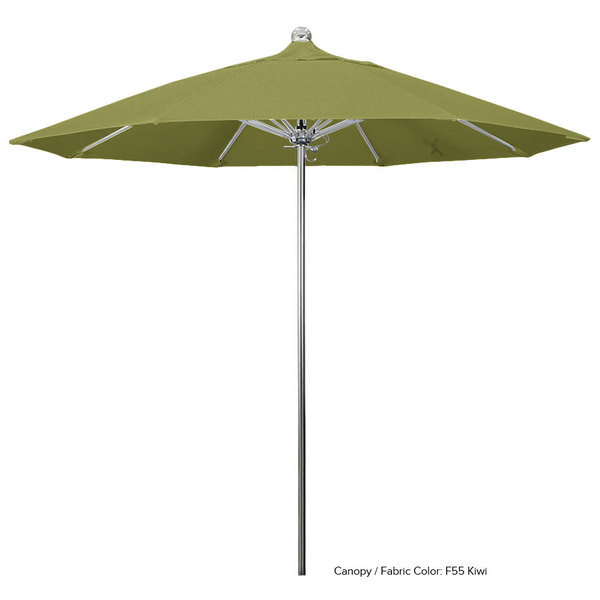 "California Umbrella LUXY 908 OLEFIN Allure 9' Round Push Lift Umbrella with 1 1/2"" Stainless Steel Pole - Olefin Canopy"
