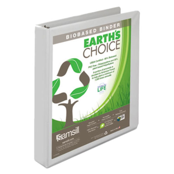 "Samsill 18937 Earth's Choice White Biobased View Binder with 1"" Round Rings Main Image 1"