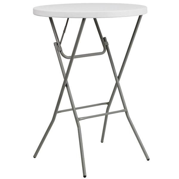 "Flash Furniture DAD-YCZ-80R-2-BAR-GW-GG 32"" Round Granite White Bar Height Plastic Folding Table Main Image 1"