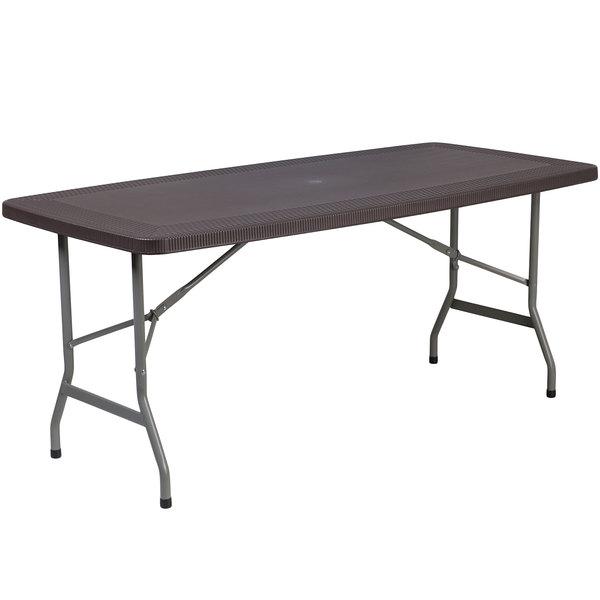 "Flash Furniture DAD-YCZ-172-GG 32 1/2"" x 67 1/2"" Brown Rattan Plastic Folding Table"