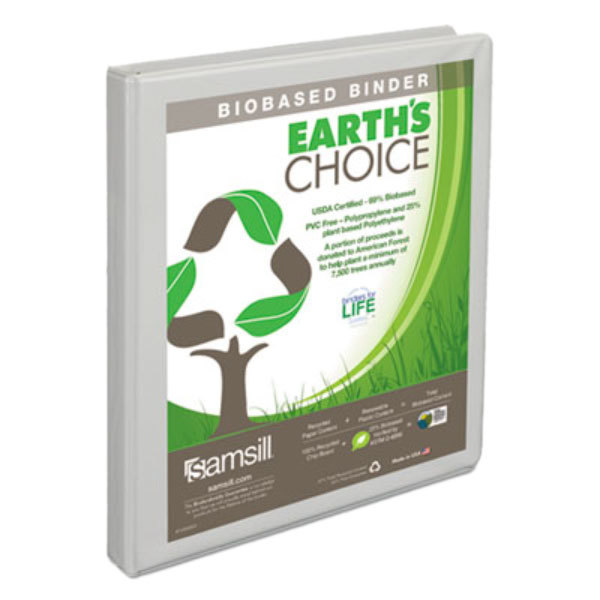 """Samsill 18917 Earth's Choice White Biobased View Binder with 1/2"""" Round Rings Main Image 1"""