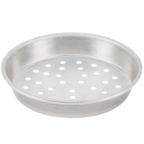 "American Metalcraft PT90161.5 16"" x 1 1/2"" Perforated Tin-Plated Steel Pizza Pan"