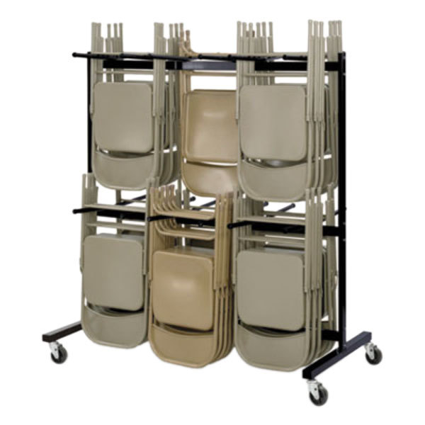 Safco 4199BL Black Two-Tier Hanging Folding Chair Cart Main Image 1