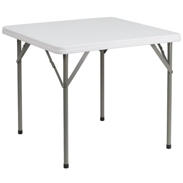 "Flash Furniture DAD-YCZ-86-GG 34"" Square Granite White Plastic Folding Table"